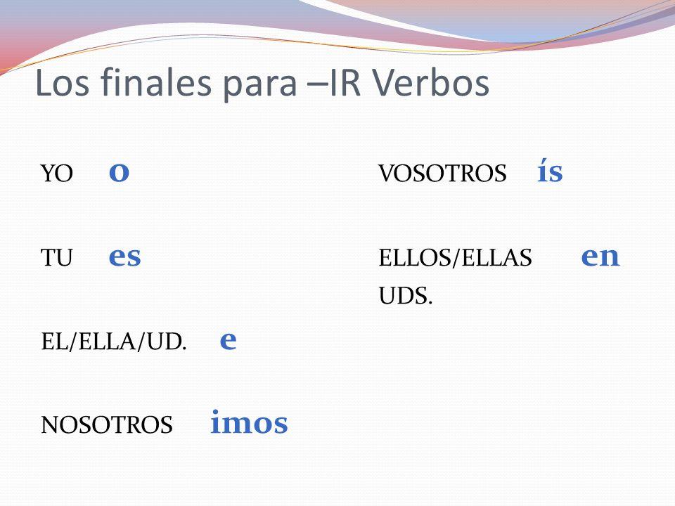 Los finales para –IR Verbos YO o VOSOTROS ís TU es ELLOS/ELLAS en UDS. EL/ELLA/UD. e NOSOTROS imos