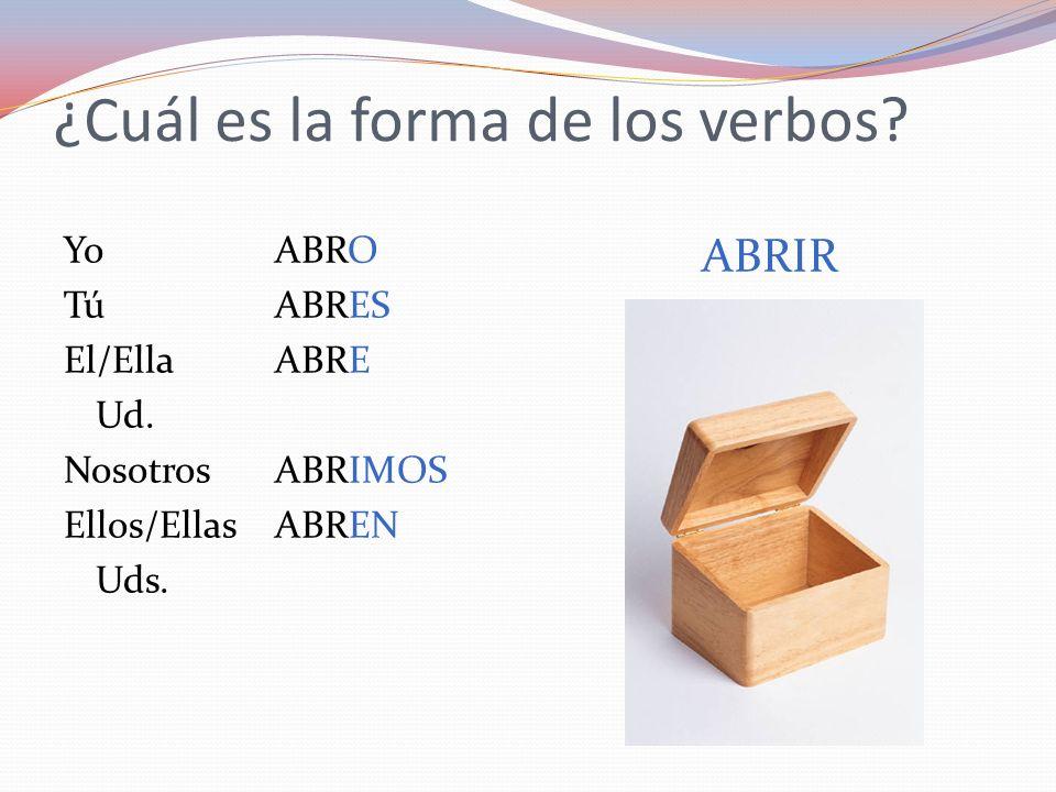 ¿Cuál es la forma de los verbos? YoABRO TúABRES El/EllaABRE Ud. NosotrosABRIMOS Ellos/EllasABREN Uds. ABRIR