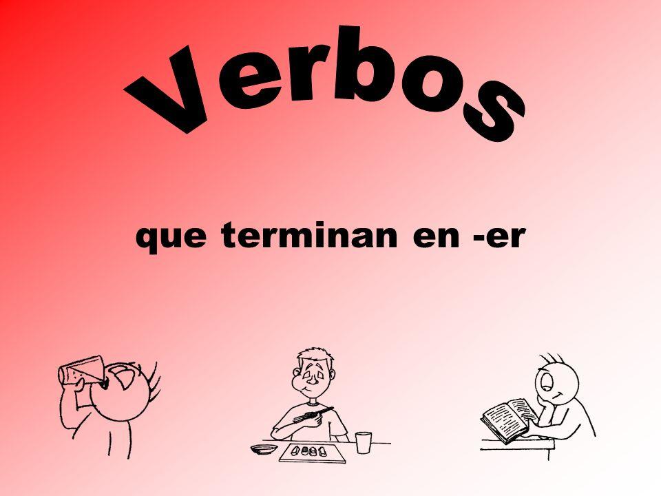 Los Verbos er las terminaciones personales el indicativo (present tense) yo --o nosotros/as --emos tú --es usted él --e ella