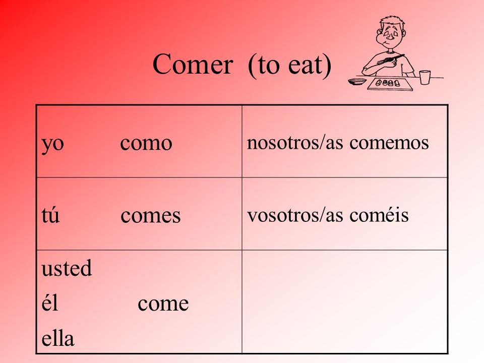 Comer (to eat) yo como nosotros/as comemos tú comes usted él come ella