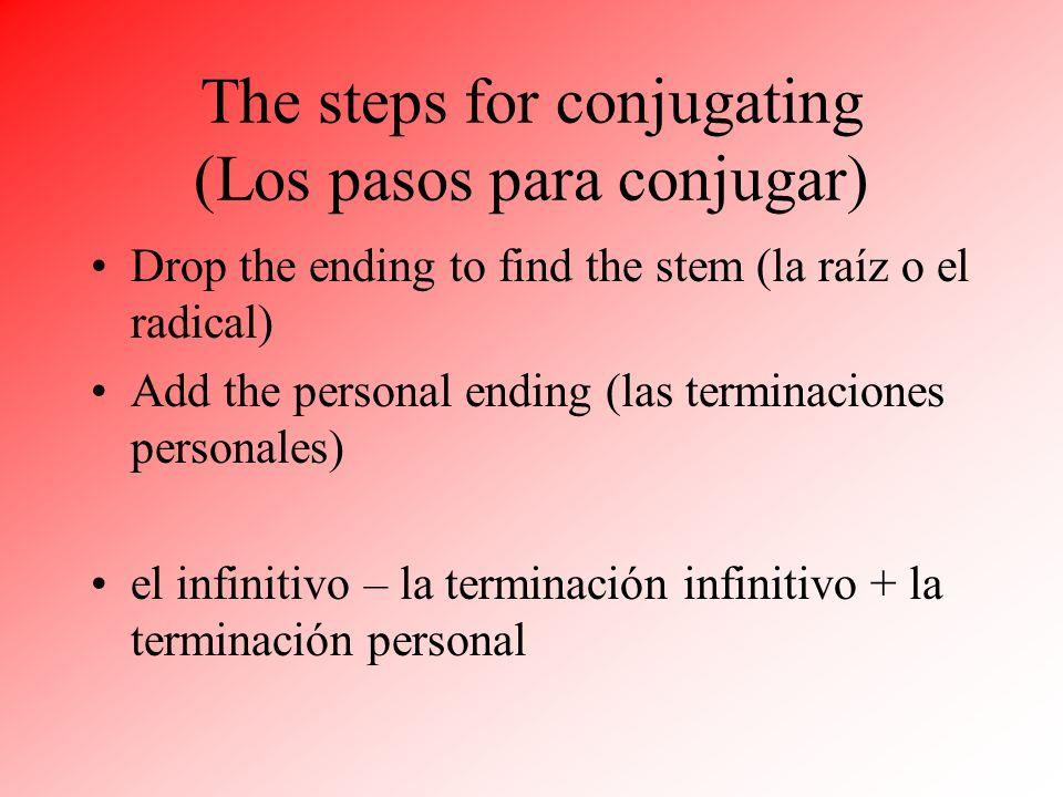 The steps for conjugating (Los pasos para conjugar) Drop the ending to find the stem (la raíz o el radical) Add the personal ending (las terminaciones personales) el infinitivo – la terminación infinitivo + la terminación personal