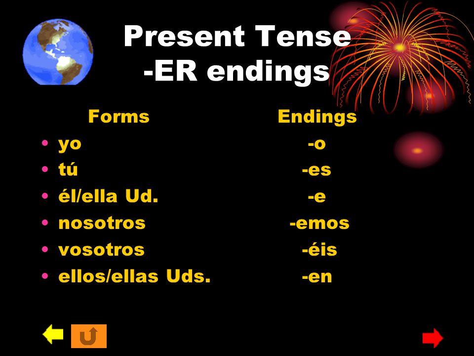 Present Tense -ER endings FormsEndings yo -o tú -es él/ella Ud. -e nosotros -emos vosotros -éis ellos/ellas Uds. -en