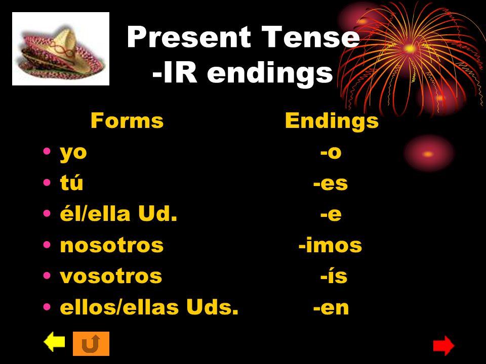 Present Tense -IR endings FormsEndings yo -o tú -es él/ella Ud. -e nosotros -imos vosotros -ís ellos/ellas Uds. -en
