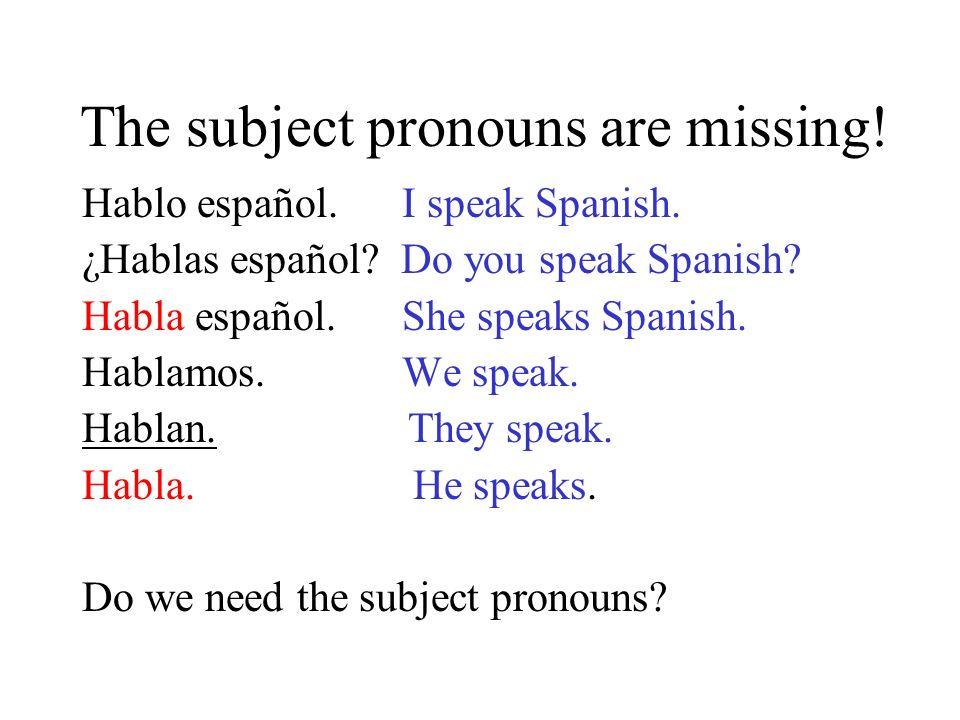 The subject pronouns are missing.Hablo español. I speak Spanish.