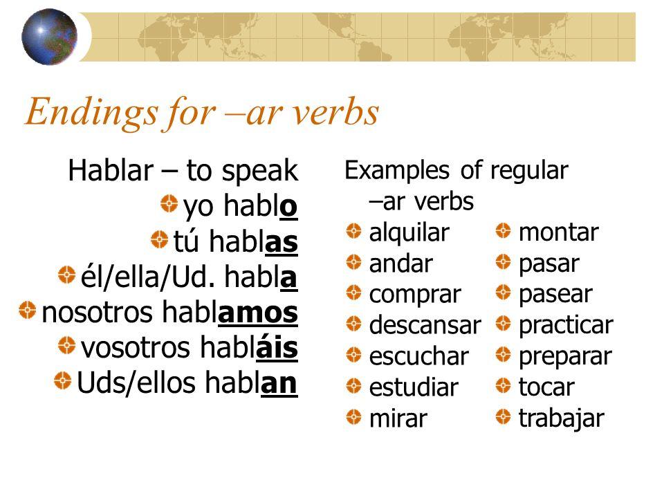 Endings for –ar verbs Hablar – to speak yo hablo tú hablas él/ella/Ud. habla nosotros hablamos vosotros habláis Uds/ellos hablan Examples of regular –
