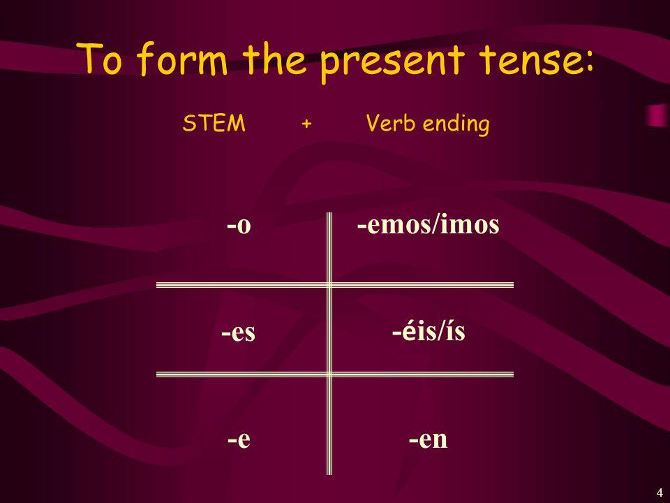 3 Every verb has 2 parts: Comer= com- Beber= beb- Correr= corr- Deber= deb- Aprender= aprend- STEM+ENDING Escribir= escrib- Compartir= compart- Vivir=