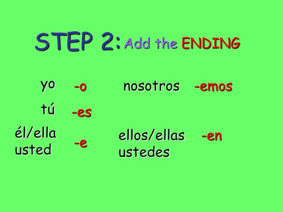 STEP 2: yo tú él/ellausted ellos/ellasustedes nosotros-o -es -e -emos -en Add the ENDING