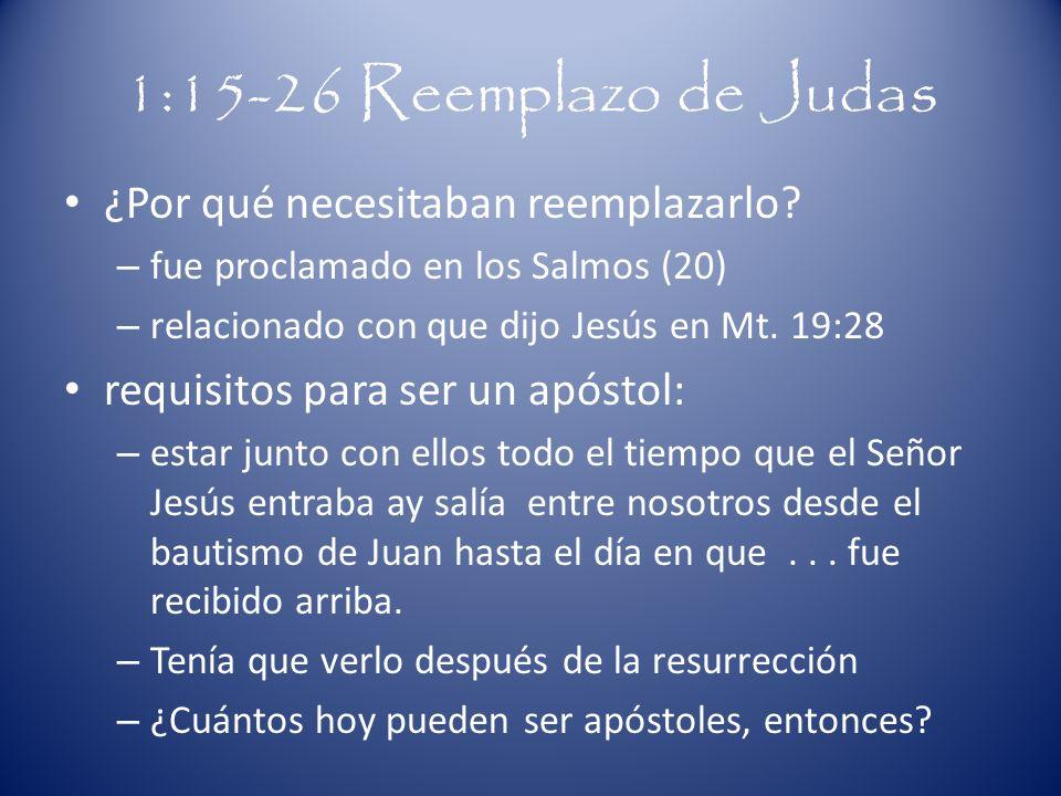 1:15-26 Reemplazo de Judas ¿Por qué necesitaban reemplazarlo? – fue proclamado en los Salmos (20) – relacionado con que dijo Jesús en Mt. 19:28 requis