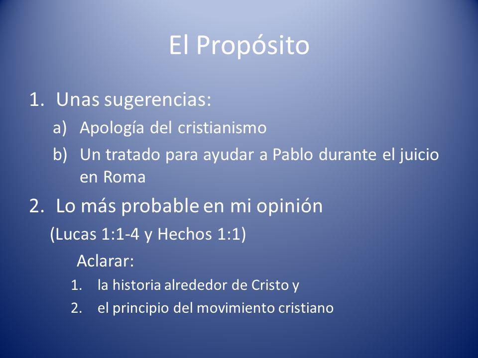 El Propósito 1.Unas sugerencias: a)Apología del cristianismo b)Un tratado para ayudar a Pablo durante el juicio en Roma 2.Lo más probable en mi opinió