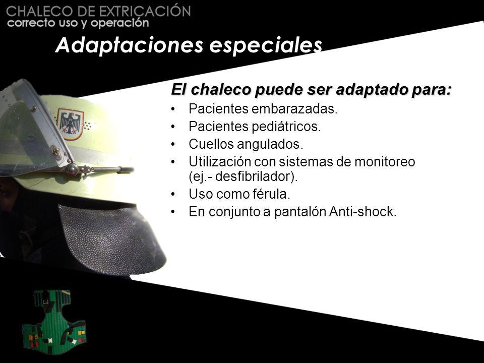 Adaptaciones especiales El chaleco puede ser adaptado para: Pacientes embarazadas. Pacientes pediátricos. Cuellos angulados. Utilización con sistemas
