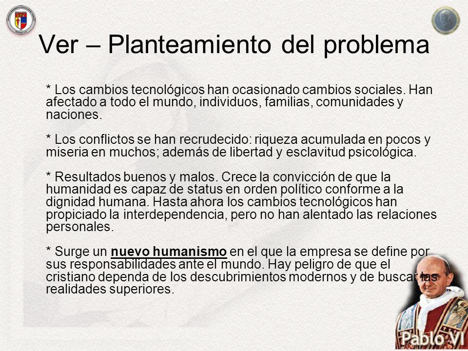 Ver – Planteamiento del problema * Los cambios tecnológicos han ocasionado cambios sociales. Han afectado a todo el mundo, individuos, familias, comun