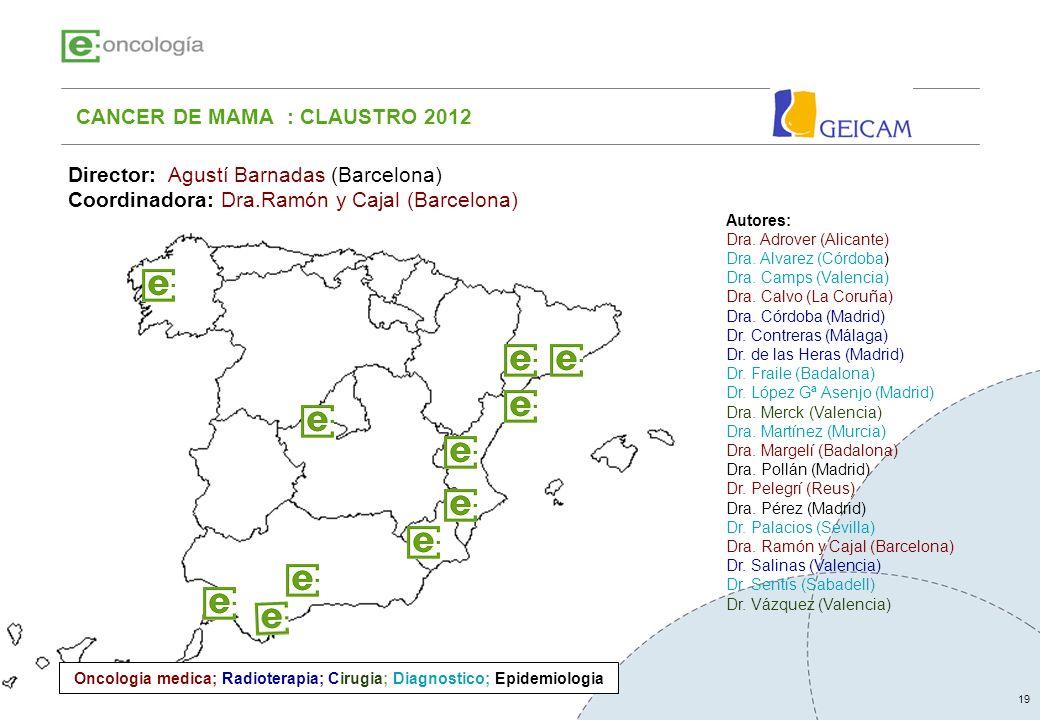 19 CANCER DE MAMA : CLAUSTRO 2012 Autores: Dra. Adrover (Alicante) Dra. Alvarez (Córdoba) Dra. Camps (Valencia) Dra. Calvo (La Coruña) Dra. Córdoba (M