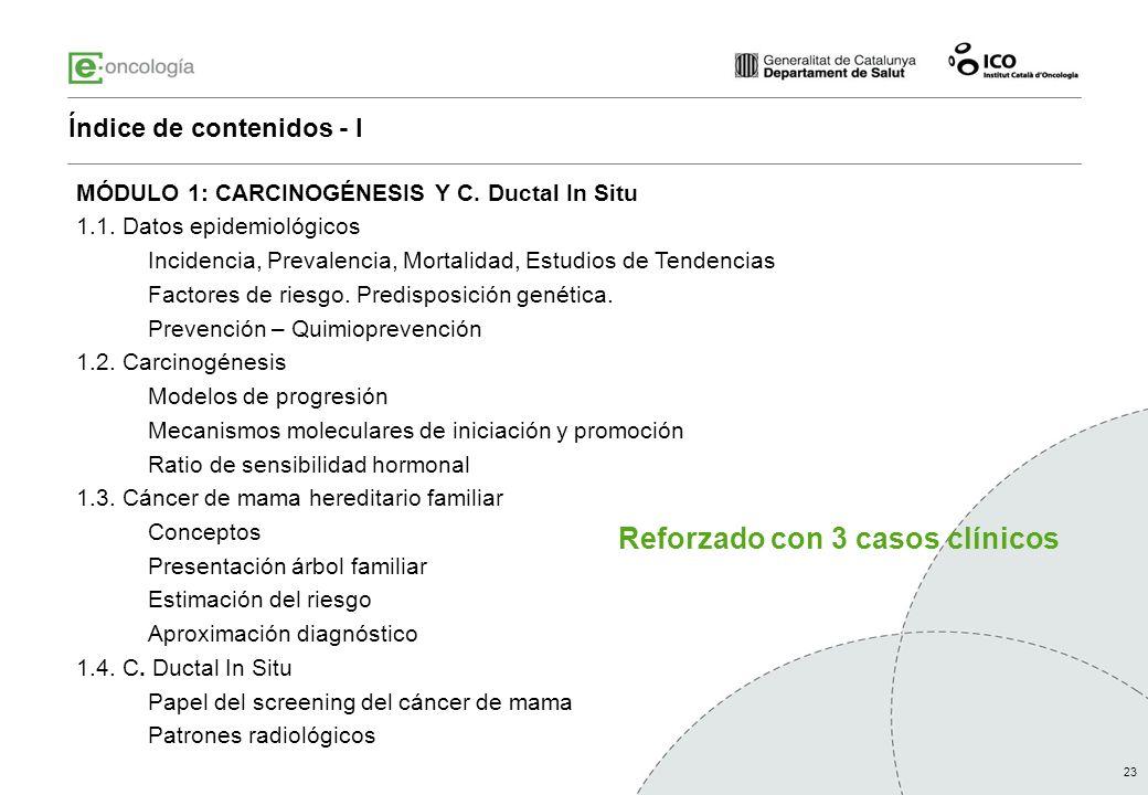23 MÓDULO 1: CARCINOGÉNESIS Y C. Ductal In Situ 1.1. Datos epidemiológicos Incidencia, Prevalencia, Mortalidad, Estudios de Tendencias Factores de rie