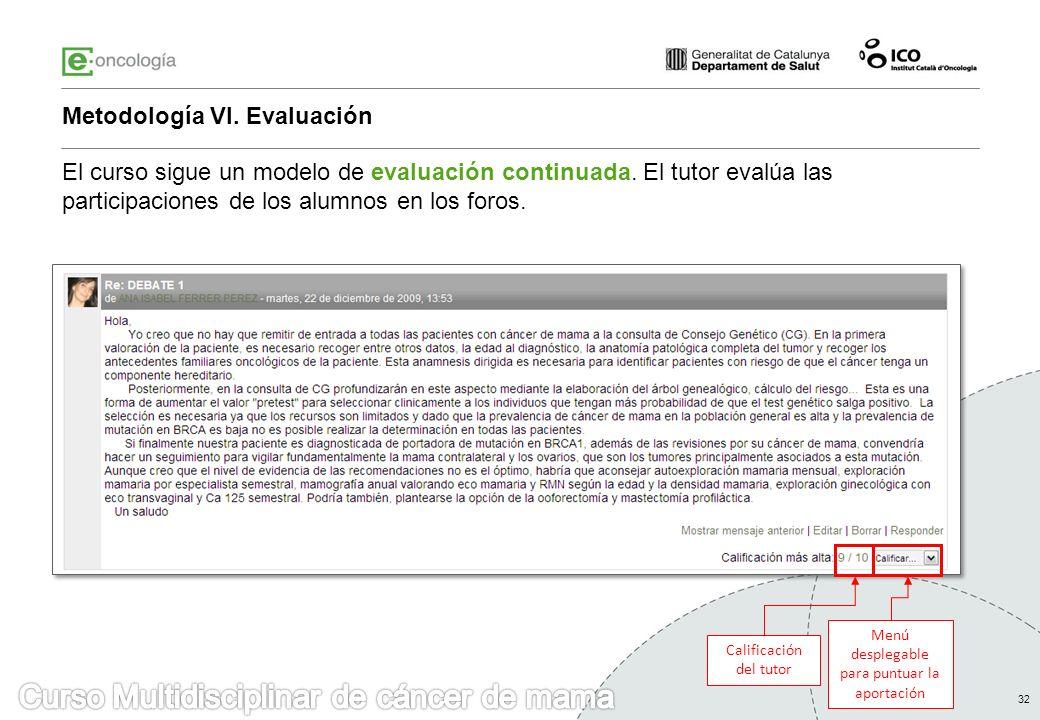 32 Metodología VI. Evaluación Calificación del tutor Menú desplegable para puntuar la aportación El curso sigue un modelo de evaluación continuada. El