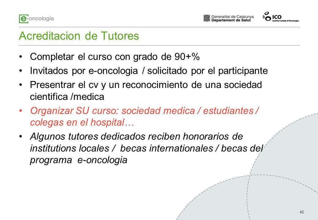 42 Acreditacion de Tutores Completar el curso con grado de 90+% Invitados por e-oncologia / solicitado por el participante Presentrar el cv y un recon