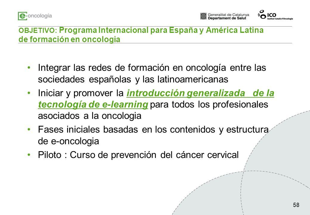58 OBJETIVO: Programa Internacional para España y América Latina de formación en oncologia Integrar las redes de formación en oncología entre las soci