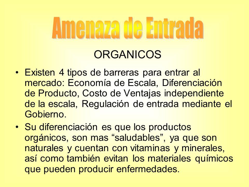 Existen 4 tipos de barreras para entrar al mercado: Economía de Escala, Diferenciación de Producto, Costo de Ventajas independiente de la escala, Regu