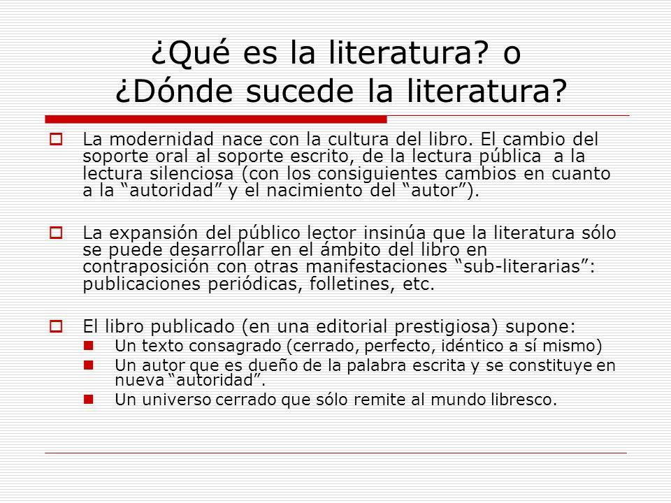¿Qué es la literatura? o ¿Dónde sucede la literatura? La modernidad nace con la cultura del libro. El cambio del soporte oral al soporte escrito, de l