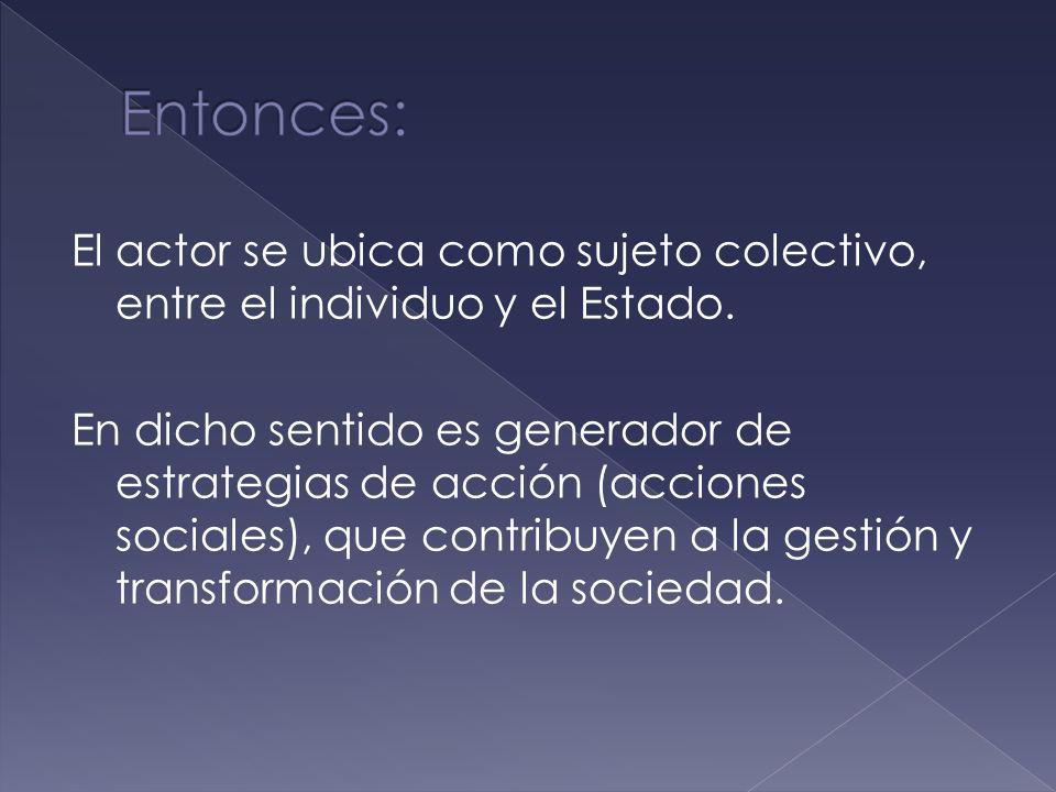 Sujeto colectivo. Estructurado. Con identidad propia, portador de valores. Posee recursos para acción colectiva, en función a sus intereses. Da respue
