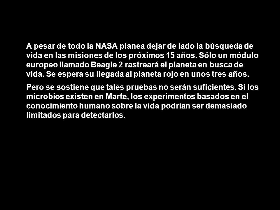 A pesar de todo la NASA planea dejar de lado la búsqueda de vida en las misiones de los próximos 15 años. Sólo un módulo europeo llamado Beagle 2 rast