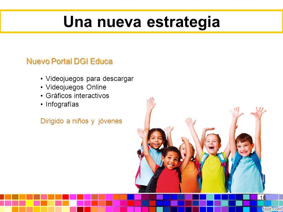 16 Una nueva estrategia Nuevo Portal DGI Educa Videojuegos para descargar Videojuegos Online Gráficos interactivos Infografías Dirigido a niños y jóve