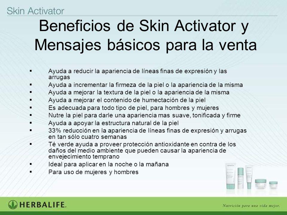 Beneficios de Skin Activator y Mensajes básicos para la venta Ayuda a reducir la apariencia de líneas finas de expresión y las arrugas Ayuda a increme