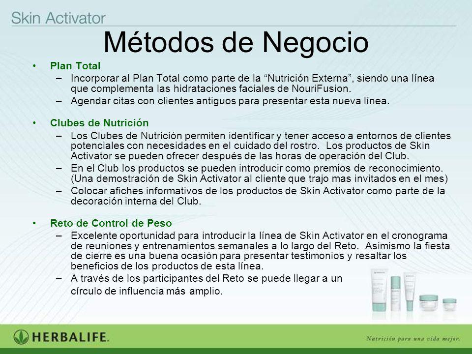 Métodos de Negocio Plan Total –Incorporar al Plan Total como parte de la Nutrición Externa, siendo una línea que complementa las hidrataciones faciale