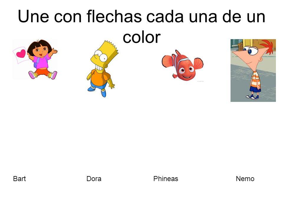Une con flechas cada una de un color PhineasBartNemoDora