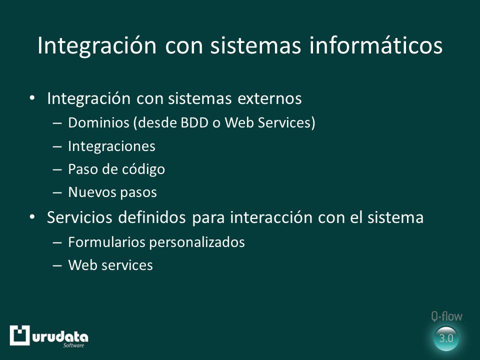 Integración con sistemas informáticos Integración con sistemas externos – Dominios (desde BDD o Web Services) – Integraciones – Paso de código – Nuevos pasos Servicios definidos para interacción con el sistema – Formularios personalizados – Web services