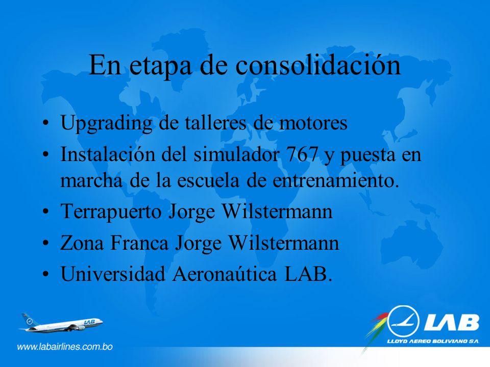 En etapa de consolidación Upgrading de talleres de motores Instalación del simulador 767 y puesta en marcha de la escuela de entrenamiento.