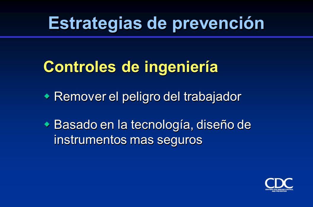 Controles de ingeniería Remover el peligro del trabajador Basado en la tecnología, diseño de instrumentos mas seguros Controles de ingeniería Remover