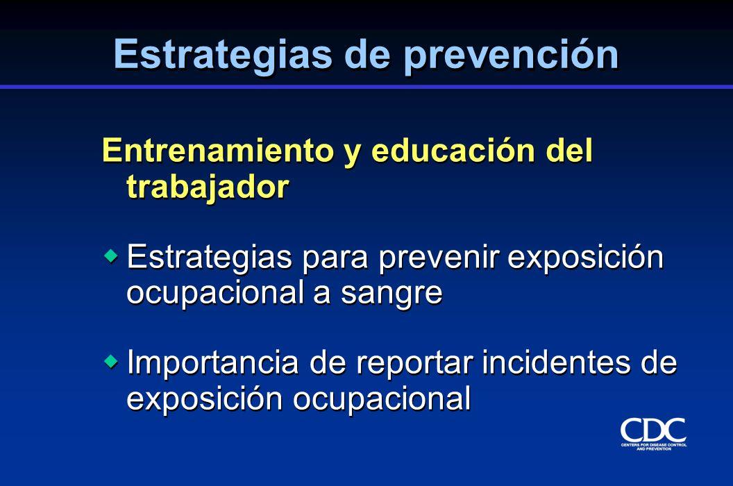 Entrenamiento y educación del trabajador Estrategias para prevenir exposición ocupacional a sangre Importancia de reportar incidentes de exposición oc