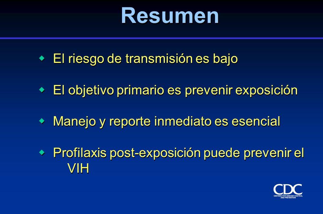 El riesgo de transmisión es bajo El objetivo primario es prevenir exposición Manejo y reporte inmediato es esencial Profilaxis post-exposición puede p