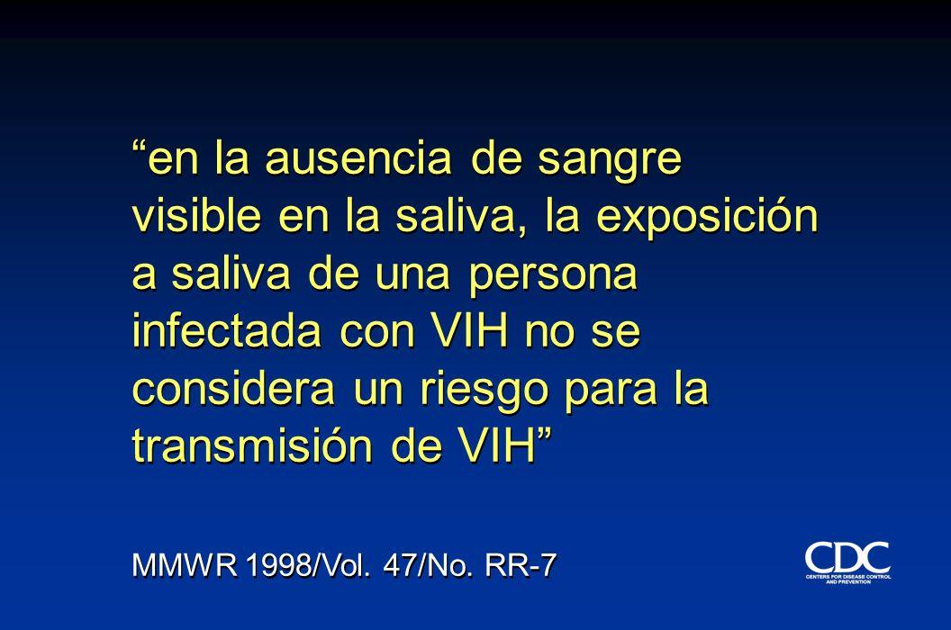 en la ausencia de sangre visible en la saliva, la exposición a saliva de una persona infectada con VIH no se considera un riesgo para la transmisión d