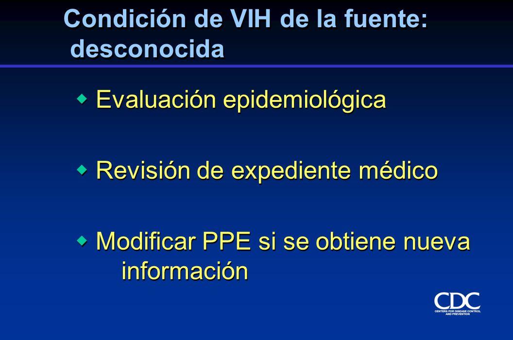 Evaluación epidemiológica Revisión de expediente médico Modificar PPE si se obtiene nueva información Evaluación epidemiológica Revisión de expediente
