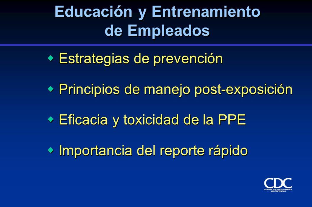 Estrategias de prevención Principios de manejo post-exposición Eficacia y toxicidad de la PPE Importancia del reporte rápido Estrategias de prevención