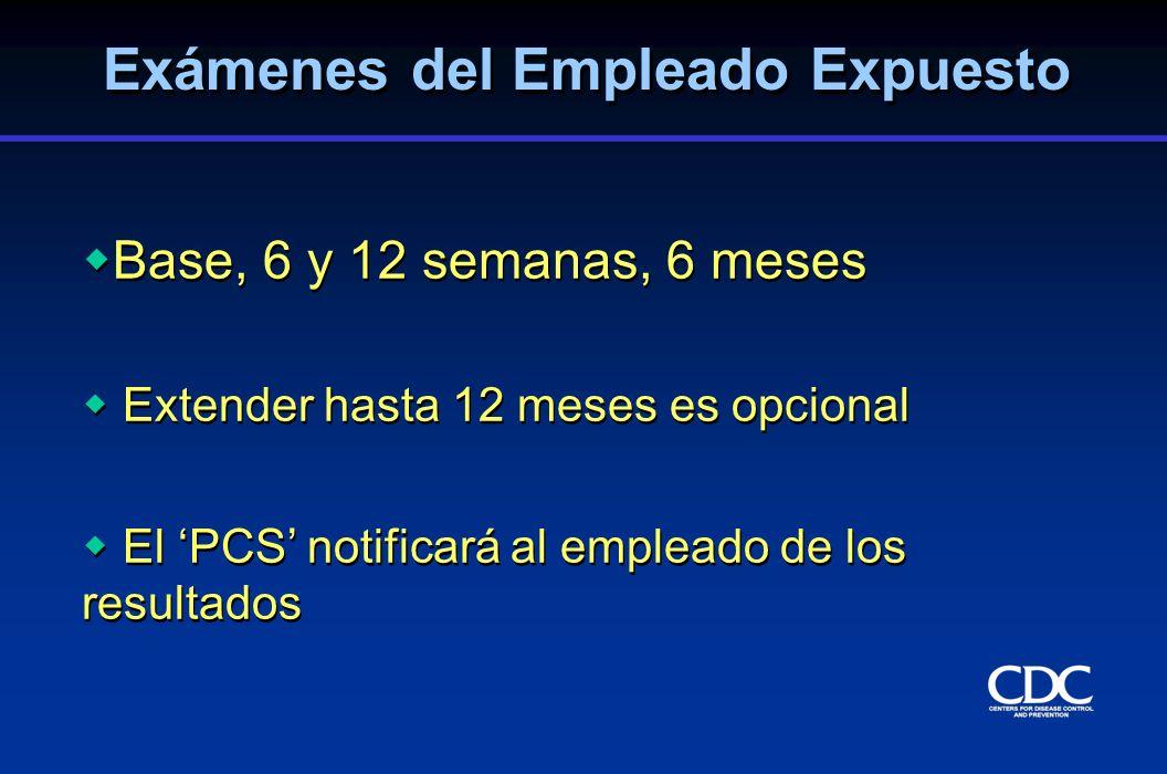 Base, 6 y 12 semanas, 6 meses Extender hasta 12 meses es opcional El PCS notificará al empleado de los resultados Base, 6 y 12 semanas, 6 meses Extend