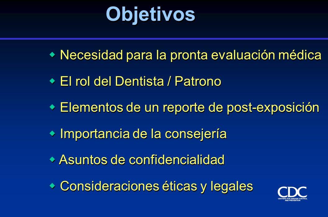 Necesidad para la pronta evaluación médica El rol del Dentista / Patrono Elementos de un reporte de post-exposición Importancia de la consejería Asunt