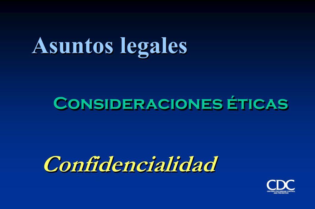 Consideraciones éticas Confidencialidad Asuntos legales