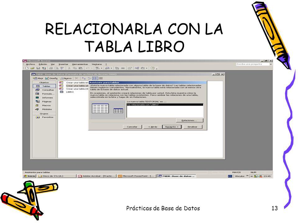 Prácticas de Base de Datos13 RELACIONARLA CON LA TABLA LIBRO