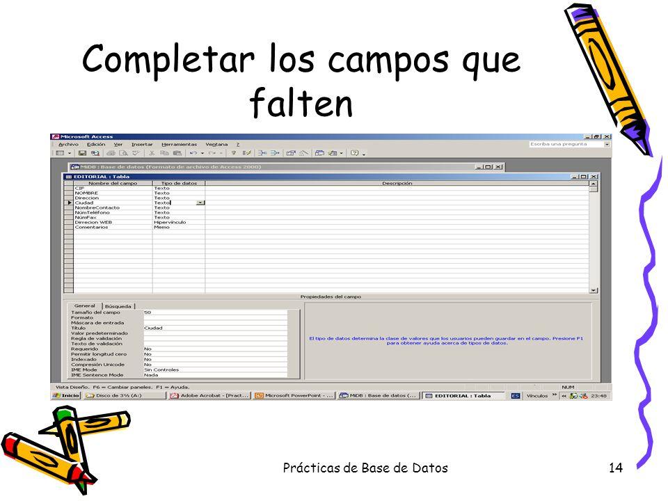 Prácticas de Base de Datos14 Completar los campos que falten