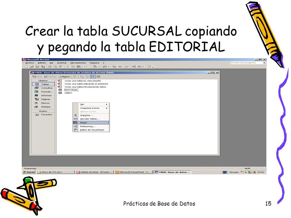 Prácticas de Base de Datos15 Crear la tabla SUCURSAL copiando y pegando la tabla EDITORIAL