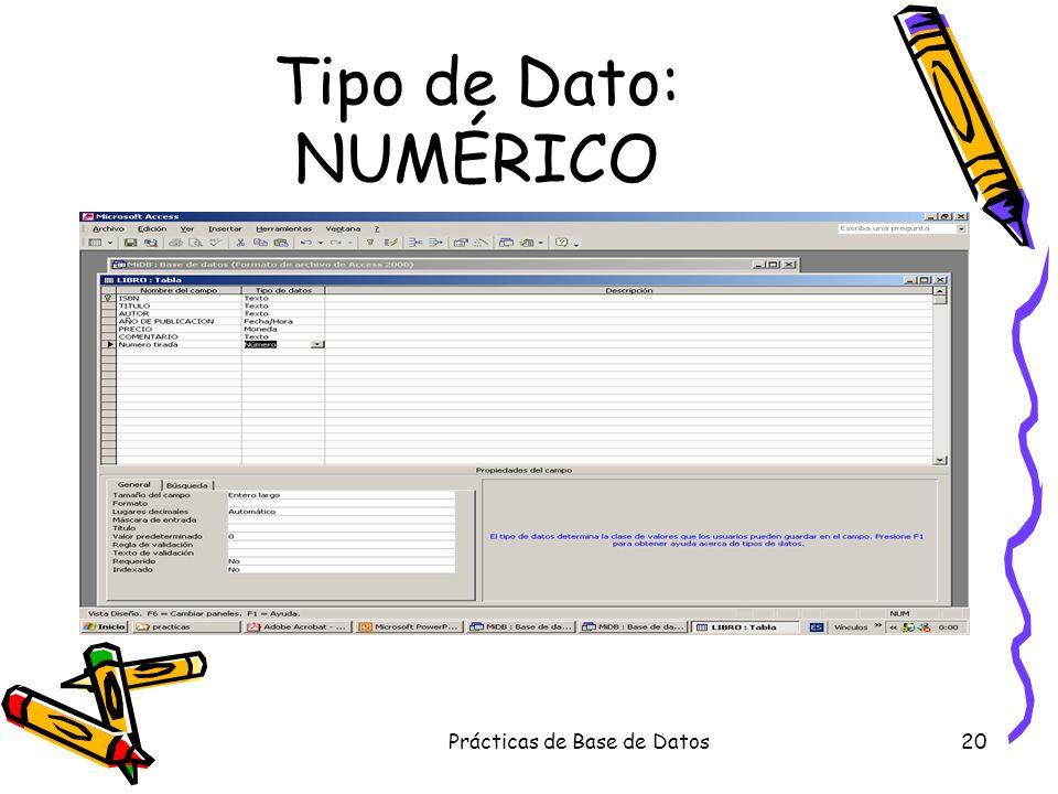 Prácticas de Base de Datos20 Tipo de Dato: NUMÉRICO