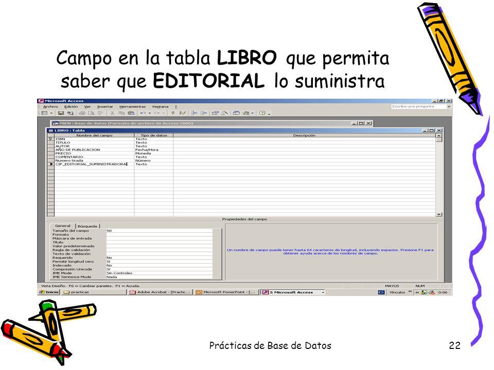 Prácticas de Base de Datos22 Campo en la tabla LIBRO que permita saber que EDITORIAL lo suministra