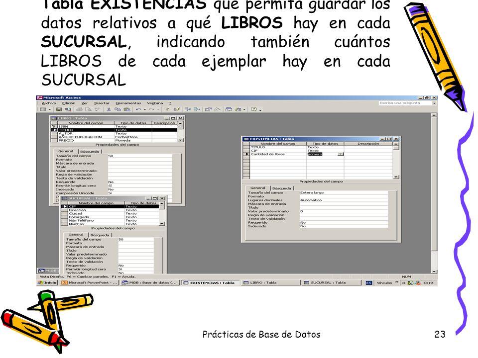 Prácticas de Base de Datos23 Tabla EXISTENCIAS que permita guardar los datos relativos a qué LIBROS hay en cada SUCURSAL, indicando también cuántos LI
