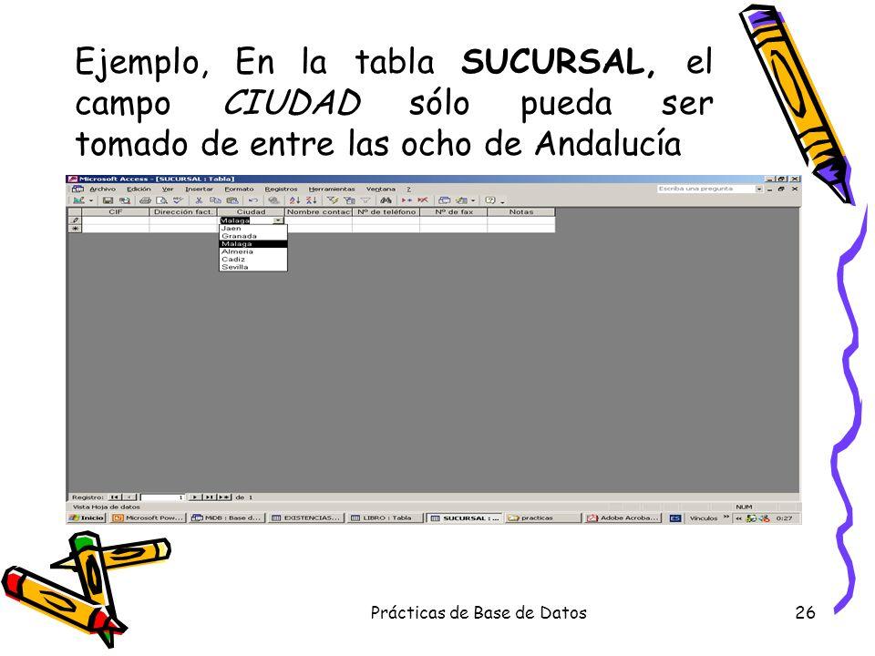 Prácticas de Base de Datos26 Ejemplo, En la tabla SUCURSAL, el campo CIUDAD sólo pueda ser tomado de entre las ocho de Andalucía