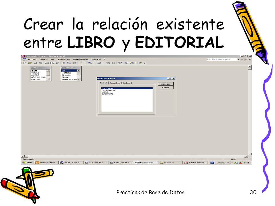 Prácticas de Base de Datos30 Crear la relación existente entre LIBRO y EDITORIAL