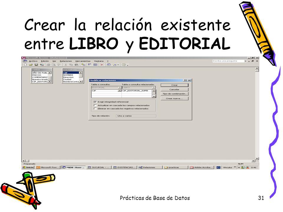 Prácticas de Base de Datos31 Crear la relación existente entre LIBRO y EDITORIAL