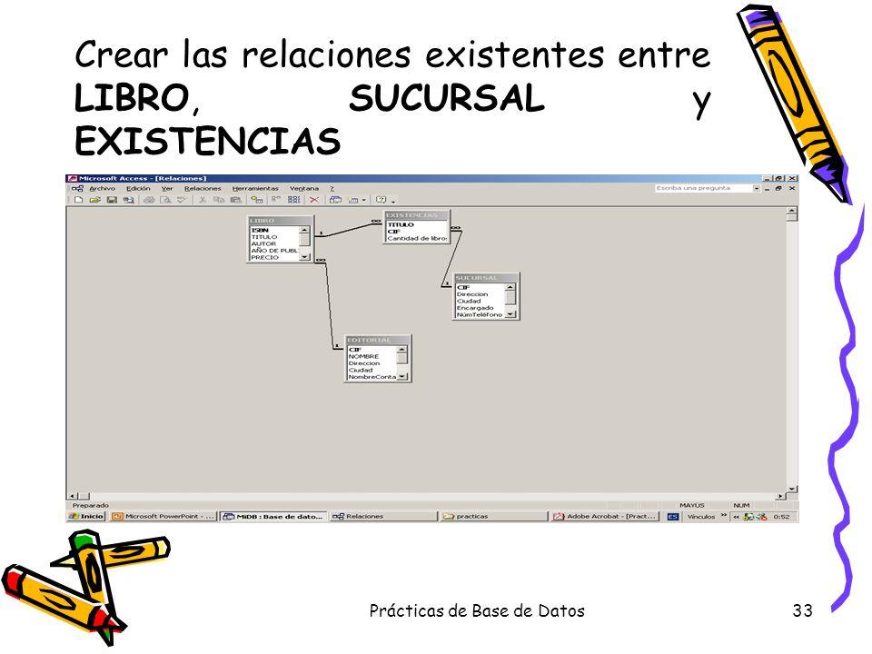 Prácticas de Base de Datos33 Crear las relaciones existentes entre LIBRO, SUCURSAL y EXISTENCIAS