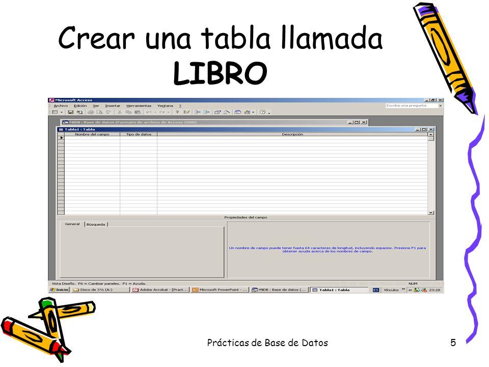 Prácticas de Base de Datos56 Escritura del texto y selección de los campos que interesen.
